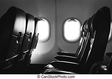внутри, окно, самолет, самолет, сиденье
