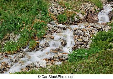 водопад, зеленый, природа
