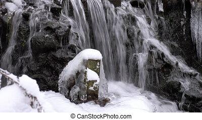 водопад, зима, лес