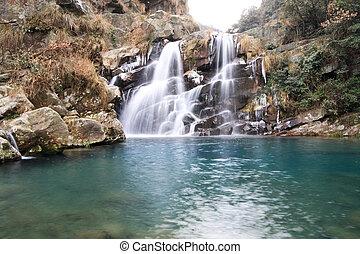 водопад, зима