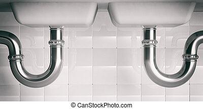 водопроводные трубы, под, двойной, sink., 3d, illustartion