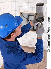 водопроводчик, склеивание, серый, водопроводные трубы
