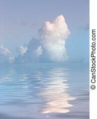 воды, безмятежный, над, облако
