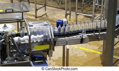 воды, бутылка, конвейер, промышленность