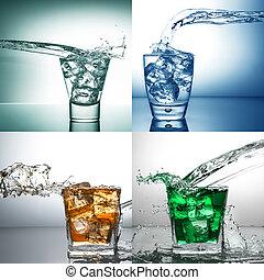 воды, всплеск, коллаж, стакан