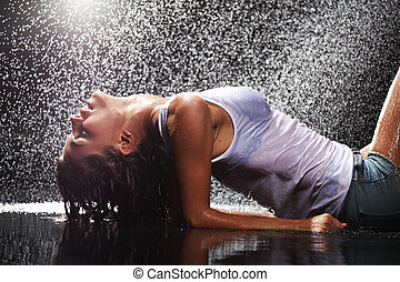 воды, женщина, студия