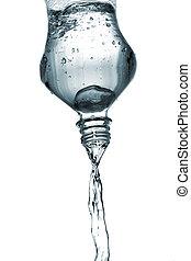 воды, заливка, из, бутылка