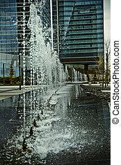 воды, здание, jets, офис, источник