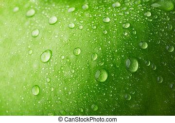 воды, падение, зеленый, яблоко, поверхность