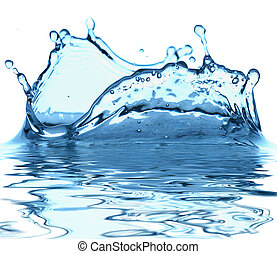 воды, синий, задний план, искры, белый
