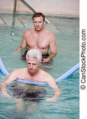 воды, терапия, инструктор, пациент, undergoing