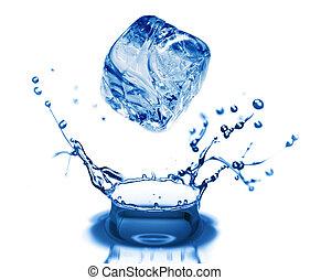 воды, bubbles, в, синий