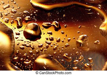 воды, drops, -, золото