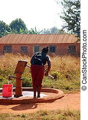 воды, fountain-pomerini-tanzania, насос, женщина, ...