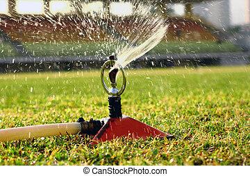 воды, jets, дождевание, стадион, поле