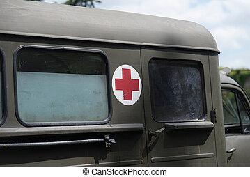 военный, медик, грузовая машина, вверх, закрыть