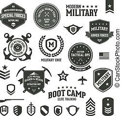 военный, badges