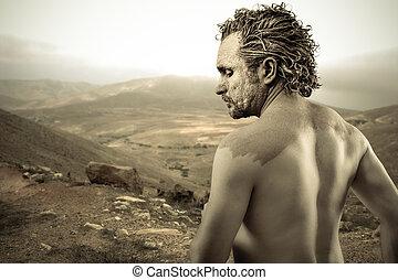 воин, человек, covered, в, грязи, на, пустыня, задний план