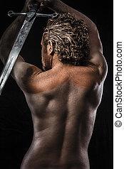 воин, with, меч, мечта, гнев, dreaming, человек, covered, в, грязи, обнаженный, в, profile, грязный, кожа