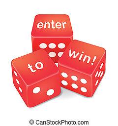 войти, к, выиграть, words, на, три, красный, игральная кость