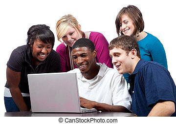 вокруг, сидящий, students, компьютер, колледж, multi-racial