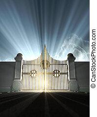 ворота, небо, жемчужный