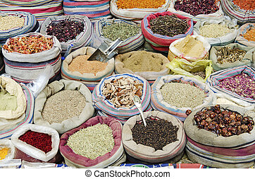 восток, египет, каир, средний, spices, рынок