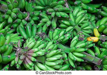 восток, зеленый, bananas, рынок, bunches