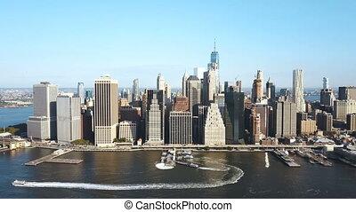 восток, река, антенна, район, солнечно, day., берег, новый, йорк, америка, манхеттен, посмотреть