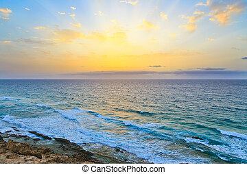 восход, над, атлантика, океан