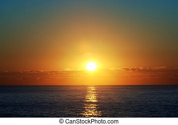 восход, над, , атлантика