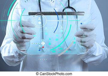 врач, за работой, современное, интерфейс, компьютер, лекарственное средство, концепция