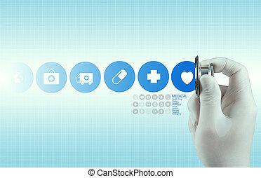 врач, за работой, современное, интерфейс, компьютер, рука, лекарственное средство