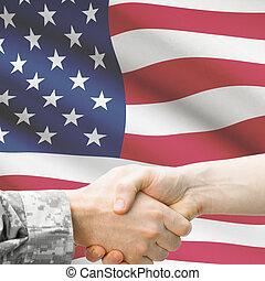 врач, -, объединяться, солдат, флаг, задний план, руки, ...