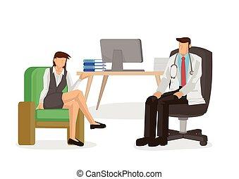 врач, пациент, консультация, talking, concept., hospital., медицинская