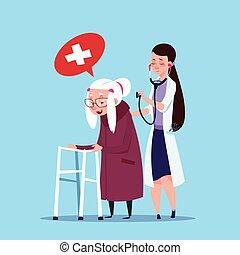 врач, принятие, бабушка, женщина, старшая, медсестра, забота