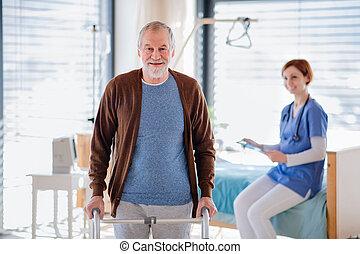 врач, старшая, hospital., пациент, гулять пешком, женский пол, рамка