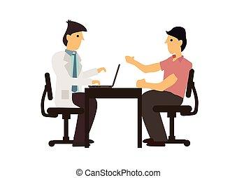 врач, таблица, пациент, консультация, talking, concept., hospital., медицинская