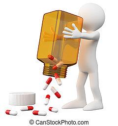 врач, emptying, бутылка, pills, 3d