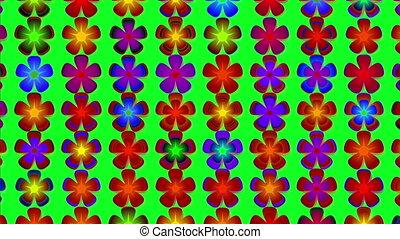 вращающийся, цветы, анимация, красочный, blooming