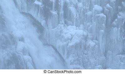 время, зима, исландия, водопад