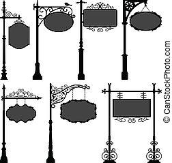 вывески, знак, столб, рамка, улица