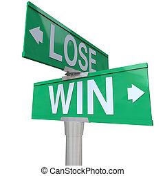 выиграть, vs, потерять, два, путь, улица, дорога, знак, направление, arrows