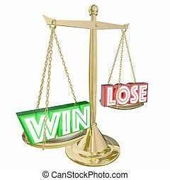 выиграть, vs, потерять, масштаб, weighing, benefits, 3d, иллюстрация