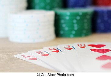 выигрыш, покер, рука, with, королевский, прямо, промывать