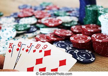 выигрыш, покер, рука, with, прямо, промывать, до, чипсы