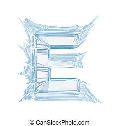 вырезка, письмо, лед, case.with, e.upper, кристалл, font.,...