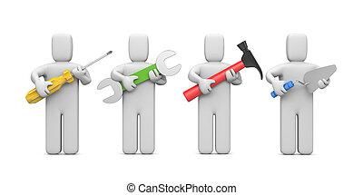 вырезка, tools., workers, содержать, дорожка, образ