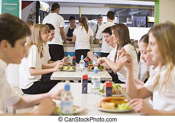 высокая, школа, students, принимать пищу, в, , школа,...