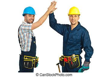 высокая, workers, счастливый, 5, конструктор